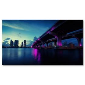 Αφίσα (πόλη, γέφυρα, κτίρια, φώτα, ηλιοβασίλεμα)
